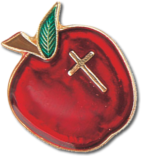 picture of gold laced apple with a cross